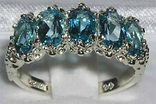 English Hallmarked Solid 925 Sterling Silver Topaz Ring