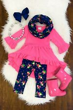 Toddler Kids Girls Boutique Outfit Clothes 3Pcs Ruffle Tops + Leggings Scarf Set