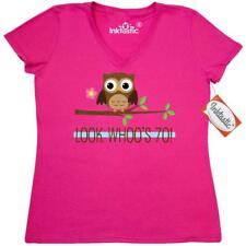 Inktastic 70th Birthday Look Whoos 70 Owl Women's V-Neck T-Shirt Year Old Happy