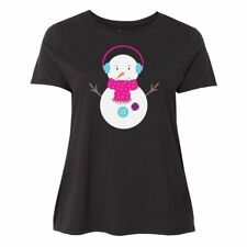 Inktastic Snowman With Pink And Blue Earmuffs Women's Plus Size T-Shirt Winter