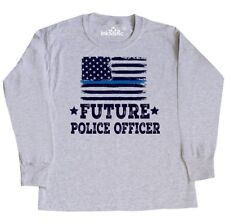 Inktastic Future Police Officer Law Enforcement Youth Long Sleeve T-Shirt Flag