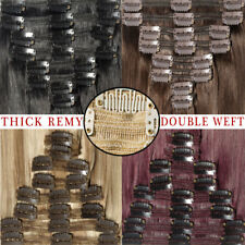 Extra THICK Clip In 100% Remy Human Hair Extension Full Head Double Weft 160G UK