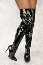 Sexy Women Metallic Mirror Pointy Toe Thigh High Heel Over The Knee Boots Black