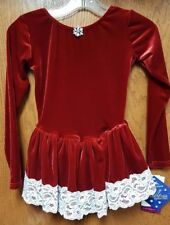 NWT Girls Skating Dress Motionwear 4141 918 Red Velour IC Holiday Dress