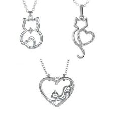NEW Cat Lover Kitten Pendant Charm Chain Silver Plated Crystal Fashion Necklace
