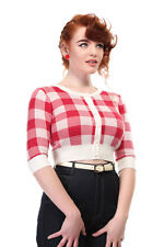 Collectif  50s style red and white gingham checked cropped Lucy cardigan