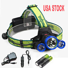 Tactical 36000LM 3*CREE XM-L T6 LED Headlamp Head Light Rechargeable+Charger USN
