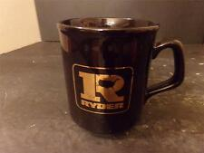 VINTAGE RYDER TRUCK RENTAL COFFEE CUP BLACK W/ GOLD LOGO ENGLAND (55)