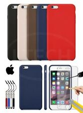 Apple iPhone 6 Plus - Leather Hard Back Case Cover, Ret Stylus & GLASS Protector