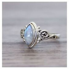 Vintage 925 Silver Ring Rainbow Moonstone Ring Charm stone Ring Size 6 7 8 9 10