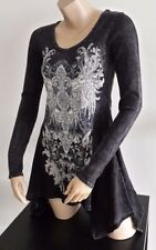 Vocal Black Vintage Crystal Cross Wings Tattoo Hi Lo Tunic Thermal Shirt Top
