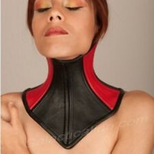 Real Cow Leather Under Chin Neck Corset Posture Collar  Black and Red S-XL