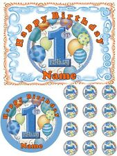 EDIBLE CAKE TOPPER 1ST FIRST BIRTHDAY BOY BLUE BALLOONS ICING SHEET IMAGE PARTY