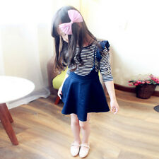 Girl Korean version of the striped t-shirt denim skirt suit autumn section