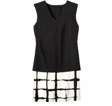 Adam Lippes Target Double Layer Checkered Plaid Black White Dress S XXL