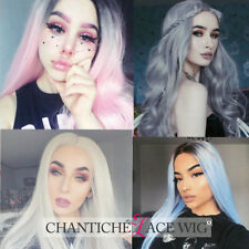 Cosplay Pink Ombre Lace Front Wig Blue Synthetic Lace Front Wigs Long White Wigs