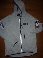 VICTORIAS SECRET PINK MARLED TRACK JACKET HOODIE RUNNING WORKOUT ZIP NWT