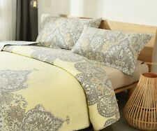 DaDa Bedding Bohemian Moroccan Pale Yellow Medallion Floral Cover Bedspread Set