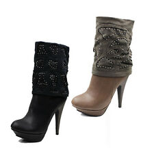 NEW WOMEN'S LADIES PATTERN ZIP UP PLATFORM HIGH HEEL ANKLE BOOTS SHOES SIZE 3-7