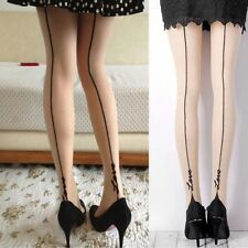 Women Sexy Tights Socks Love Tattoo Jacquard Vertical Lines Stockings Pantyhose