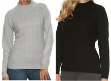 NWT! Women's Napa Valley Cable-Knit Ribbed Trim Mockneck Sweater Gray Black