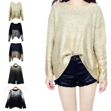 Women Knitted Bat Wing Sleeve Sweater Sweater Solid Blended Winter Fashion Top