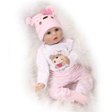 Baby Doll Reborn Hair Rooted Newborn Vinyl Handmade Silicone Girl Realistic Gift