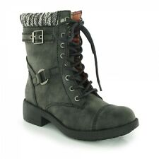Rocket Dog THUNDER Ladies Womens Buckle Lace Up Biker High Ankle Boots Black