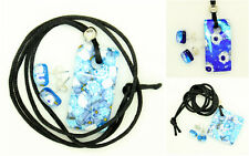 Blue and White Murano Glass Venetian Pendant and Stud Earrings Set