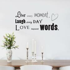 LIVE EVERY MOMENT Laugh Love Decal WALL STICKER Lettering Decor Art Quote SQ91