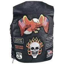 Motorcycle Vest Skull Eagle Buffalo Leather 23 Biker Patches New Diamond Plate