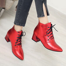 Women Winter Ankle Boots Pointed Toe Lace Up Cuban Heel Shoes Red Black