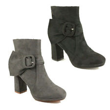 WOMENS LADIES CASUAL HIGH BLOCK HEEL BUCKLE FASHION ANKLE BOOTS SHOES SIZE 3-8