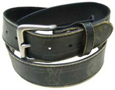 """DL35 BLACK DISTRESSED OR VINTAGE 1.5"""" WIDE LEATHER BELT WITH PEACE SIGNS"""