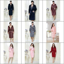 Women Men Sleepwear Robe Shawl Collar Flannel Bathrobe Couple Nightdress Pajamas