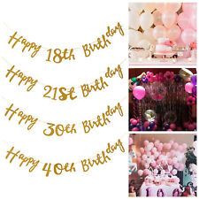 Gold Glitter Happy Birthday Bunting Banner 18th 21st 30th 40th 50th Party Decor