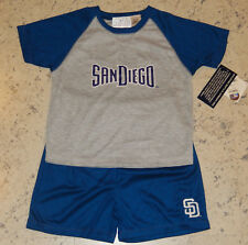 San Diego PADRES Boy's 2-Piece Shorts/T-Shirt SET~Size 4(Small)~Blue/Gray NWT$30