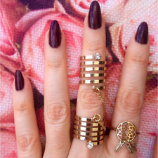 Spiral Cut Double Linked Knuckle Ring