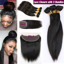 7A Brazilian Virgin Human Hair 3 Bundles With 13x4 Lace Frontal Closure Straight