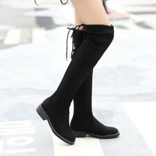 Women Sexy Stretch Thigh High Boots Round Toe Lace Up Winter Flats Shoes