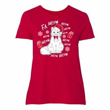 Inktastic Cat Christmas Music With Santa Hat Women's Plus Size T-Shirt Kitty Fa
