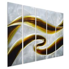 Pure Art Swirls of Color - Abstract Metal Wall Art Decor - Small Brown...