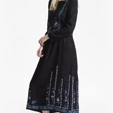 NEW FRENCH CONNECTION WOMENS ARGENTO STITCH FLORAL EMBROIDERED MAXI DRESS