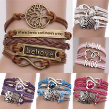 Leather Infinity Charm Bracelet Cute Leather Multilayer Infinity Love HeartJB