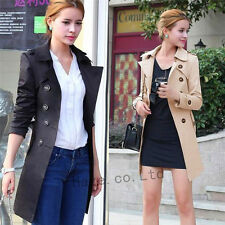 Fashion Womens Slim Windbreaker Double Breasted Long Trench Coat Jacket Overcoat