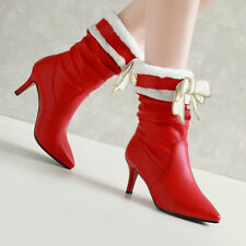 Women Fur Winter Mid-calf Boots Bow High Heel Slip On Pointed Toe Shoes