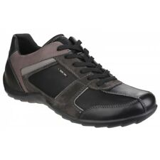 GEOX PAVEL Mens Suede Leather Lace Up Waterproof Lined Comfort Trainers Black