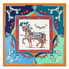 Decorated Horse Print Elegant Jacquard Women's 100% Silk Shawl Square Wrap Scarf