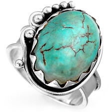 Solid 925 Sterling Silver Natural Turquoise Ring Gemstone Boho Women's Size 6 7
