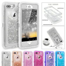Glitter Bling Sparkle Flowing Liquid Clear Hybrid Cases Shell For Apple iPhone